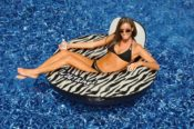 Swimline 90552 Zebra Animal Print Floating Inflatable Lounge Chair