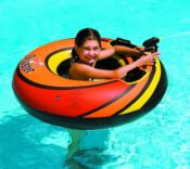 Swimline 9075 PowerBlaster ONE Inflatable Floating Ride On Tube with Squirter