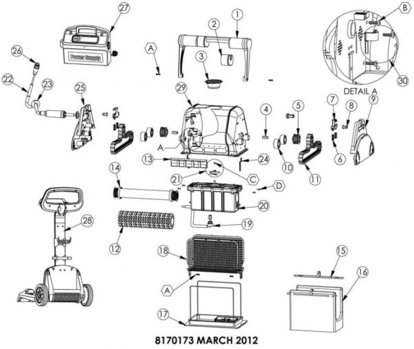 Parts Diagram - Maytronics Dolphin Heavy Duty - Blue