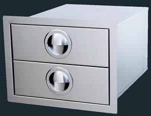 "Luxor Stainless Steel Double Drawer ""Slimline Series"""