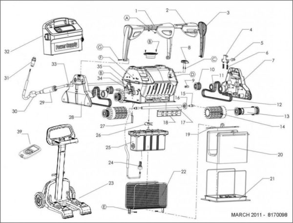 Parts Diagram - Maytronics Dolphin C5 Robotic Pool Cleaner