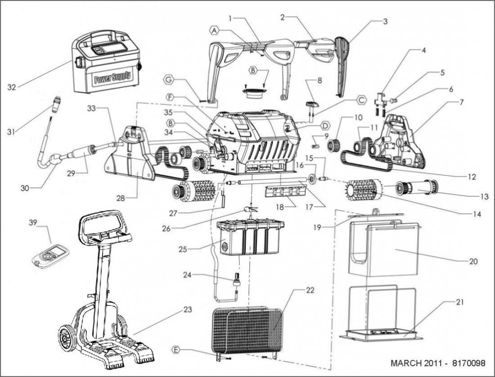 Parts Diagram Maytronics Dolphin C5 Robotic Pool Cleaner