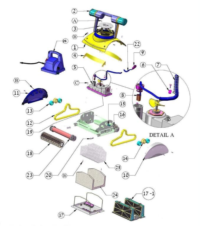 Parts Diagram Maytronics Dolphin Deluxe 4 Robotic Pool Cleaner