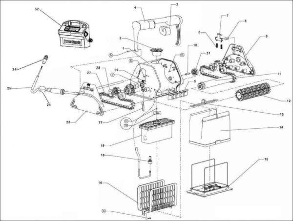 Parts Diagram - Maytronics Dolphin Wave 50