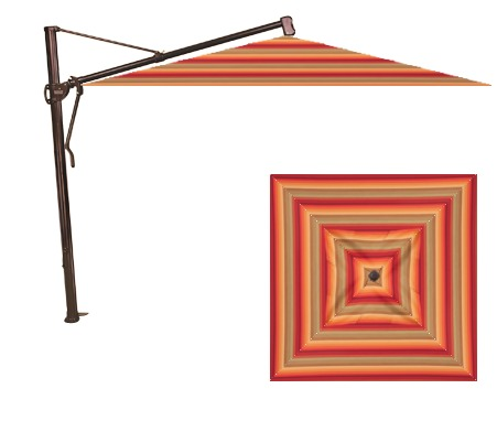 Treasure Garden AKZSQ 11.5' Square Cantilever Umbrella