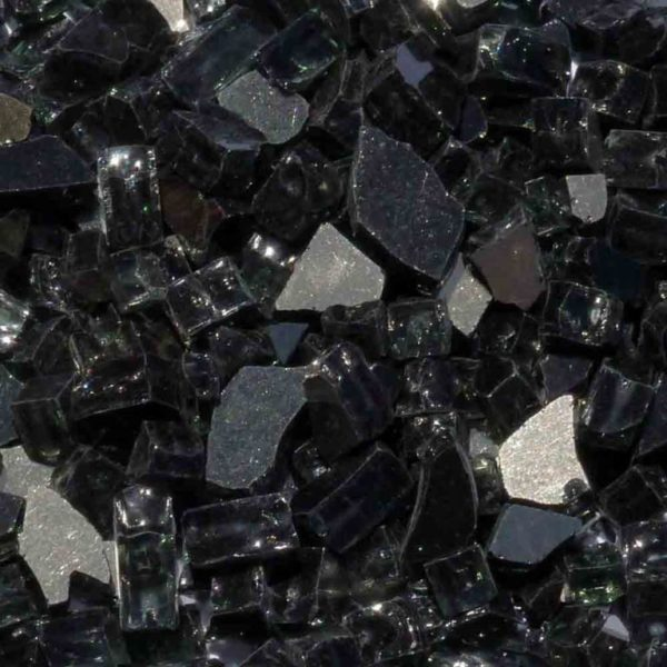 """1/4"""" Black Reflective Fire Pit or Fireplace Glass - 10 lbs"""