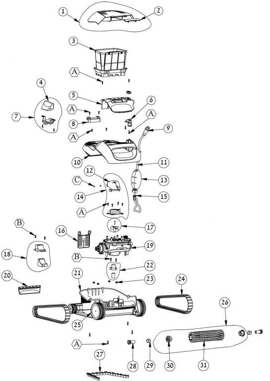 Parts Diagrams - Maytronics Dolphin Cayman