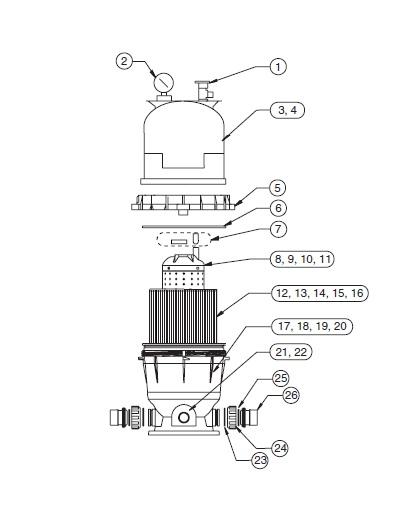 Pentair Clean & Clear Filter - Parts Diagram