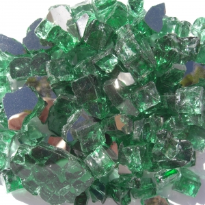 """1/2"""" Green Reflective Fire Pit or Fireplace Glass - 10 lbs"""