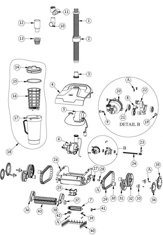 Parts Diagram - Maytronics Dolphin Hybrid DX2