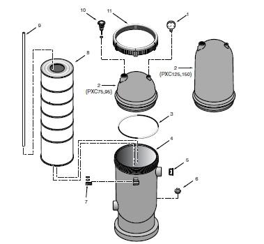 Pentair Posi-Clear Filter - Parts Diagram