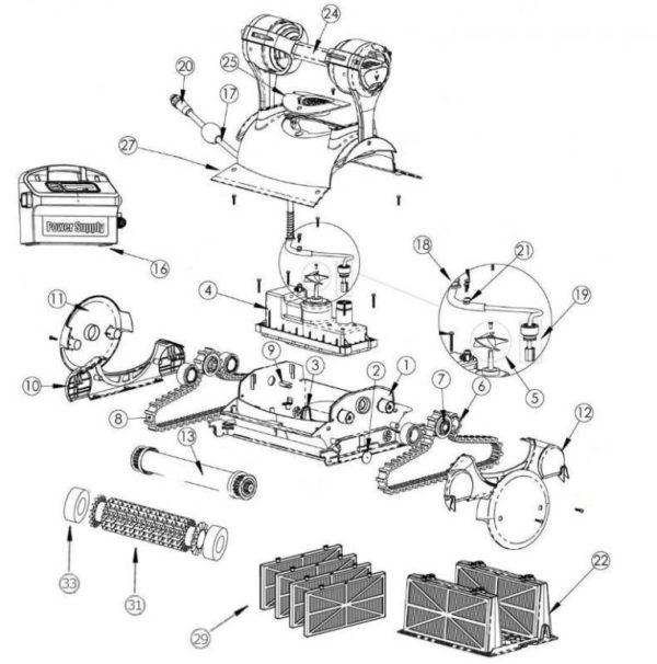Parts Diagram - Pentair Kreepy Krauly Prowler 830