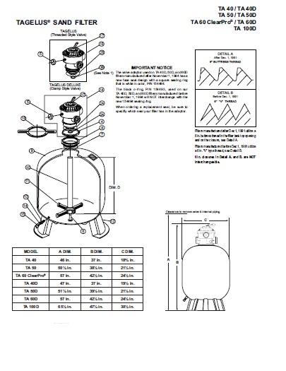 Pentair Tagelus Filter - Parts Diagram